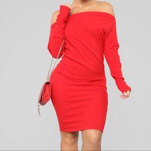 Red sweater midi dress